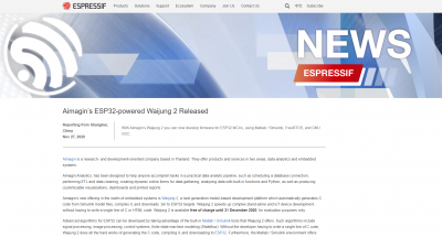 Espressif Aimagin's ESP32-powered Waijung 2 News Released